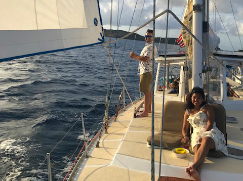 romantic sailing in St Thomas